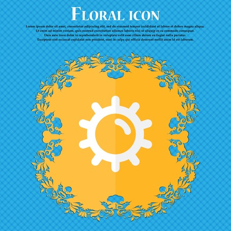 solarium: Sun . Floral flat design on a blue abstract background with place for your text. Vector illustration Illustration