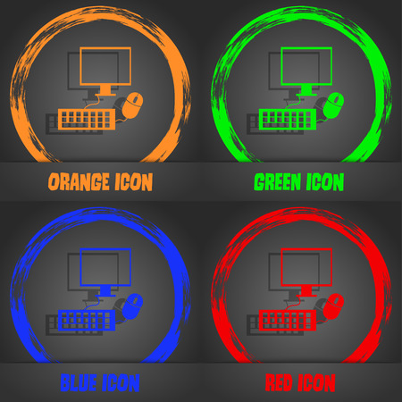 keyboard and mouse: Computer widescreen monitor, keyboard, mouse sign icon. Fashionable modern style. In the orange, green, blue, red design. Vector illustration