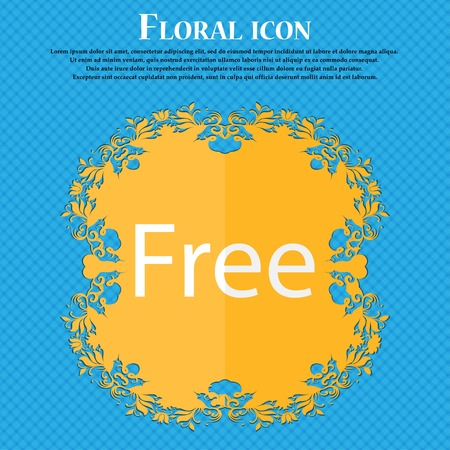 free place: Free sign icon. Special offer symbol. Floral flat design on a blue abstract background with place for your text. Vector illustration Illustration