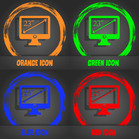 widescreen: diagonal of the monitor 23 inches icon sign. Fashionable modern style. In the orange, green, blue, red design. Vector illustration Illustration