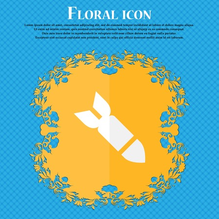 ballistic missile: Missile,Rocket weapon . Floral flat design on a blue abstract background with place for your text. Vector illustration