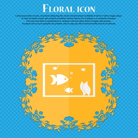 flipper: Aquarium, Fish in water icon sign. Floral flat design on a blue abstract background with place for your text. Vector illustration