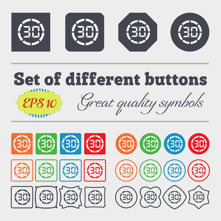 corner clock: 30 second stopwatch icon sign. Big set of colorful, diverse, high-quality buttons. Vector illustration
