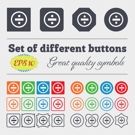 dividing: dividing icon sign. Big set of colorful, diverse, high-quality buttons. Vector illustration Illustration