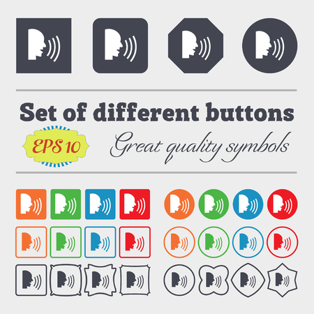 noisily: Talking Flat modern web icon. Big set of colorful, diverse, high-quality buttons. Vector illustration Illustration