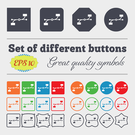 bezier: Bezier Curve icon sign. Big set of colorful, diverse, high-quality buttons. Vector illustration
