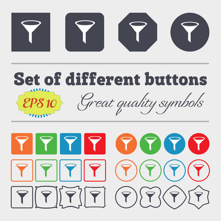 filtered: Funnel icon sign. Big set of colorful, diverse, high-quality buttons. Vector illustration