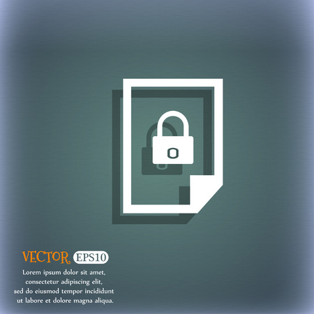 lockout: File locked icon sign. On the blue-green abstract background with shadow and space for your text. Vector illustration Illustration