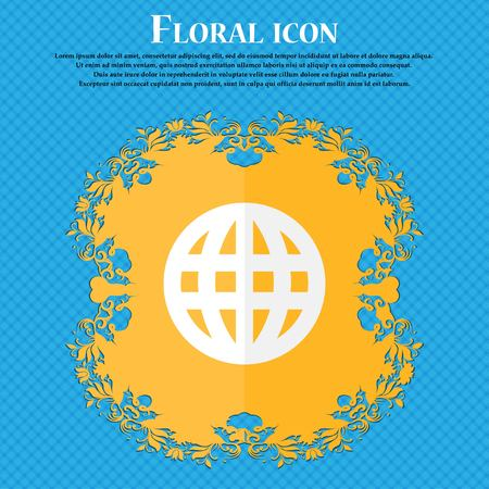 geography background: Globe, World map geography . Floral flat design on a blue abstract background with place for your text. Vector illustration