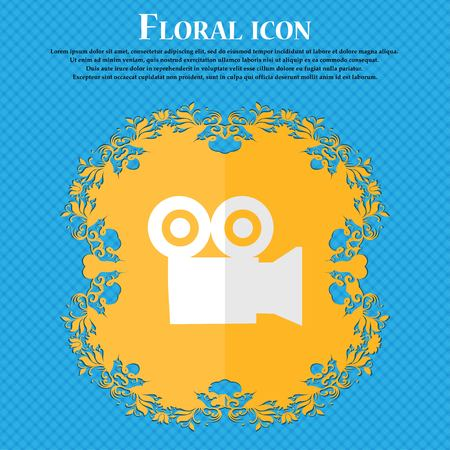 journalistic: video camera. Floral flat design on a blue abstract background with place for your text. Vector illustration Illustration