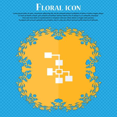 interconnect: Local Network icon sign. Floral flat design on a blue abstract background with place for your text. Vector illustration