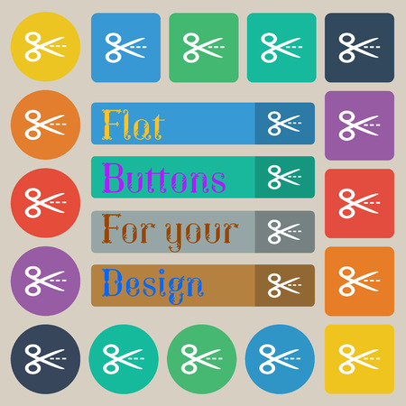 Scissors with cut dash dotted line sign icon. Tailor symbol. Set of twenty colored flat, round, square and rectangular buttons. Vector illustration