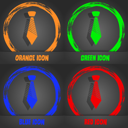 official wear: Tie sign icon. Business clothes symbol. Fashionable modern style. In the orange, green, blue, red design. Vector illustration