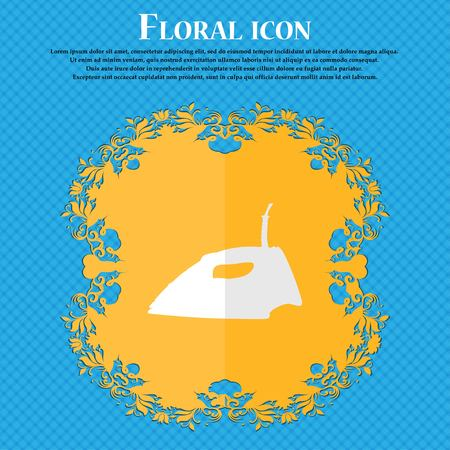 smoothing: Iron. Floral flat design on a blue abstract background with place for your text. Vector illustration