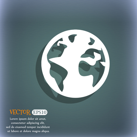 geography background: Globe sign icon. World map geography symbol. Globes on stand for studying. On the blue-green abstract background with shadow and space for your text. Vector illustration