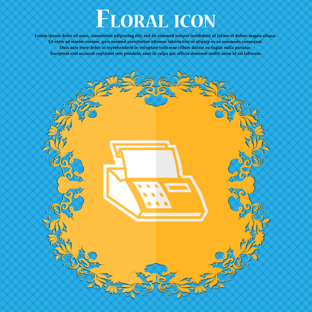 checkout counter: Cash register machine. Floral flat design on a blue abstract background with place for your text. Vector illustration