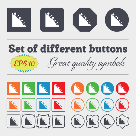 rockfall: Rockfall icon. Big set of colorful, diverse, high-quality buttons. Vector illustration Illustration