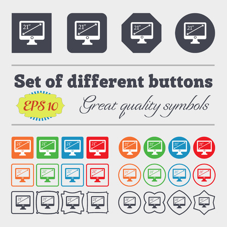 inches: diagonal of the monitor 21 inches icon sign. Big set of colorful, diverse, high-quality buttons. Vector illustration
