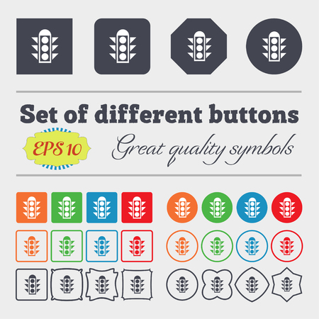 light signal: Traffic light signal icon sign. Big set of colorful, diverse, high-quality buttons. Vector illustration