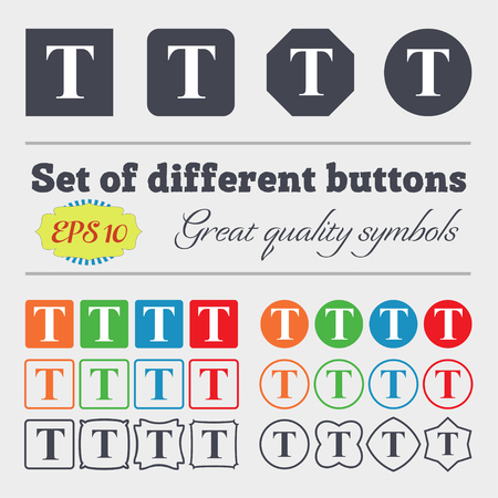 t document: Text edit icon sign. Big set of colorful, diverse, high-quality buttons. Vector illustration