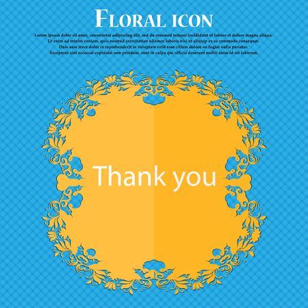 gratitudine: Grazie firmare icona. Simbolo Gratitudine. Design piatto floreale su sfondo blu astratto con posto per il testo. Illustrazione vettoriale