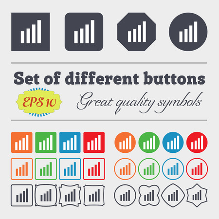 wireless signal: Mobile signal sign. Wi-fi symbol. Wireless Network icon. Wifi zone. Big set of colorful, diverse, high-quality buttons. Vector illustration Illustration