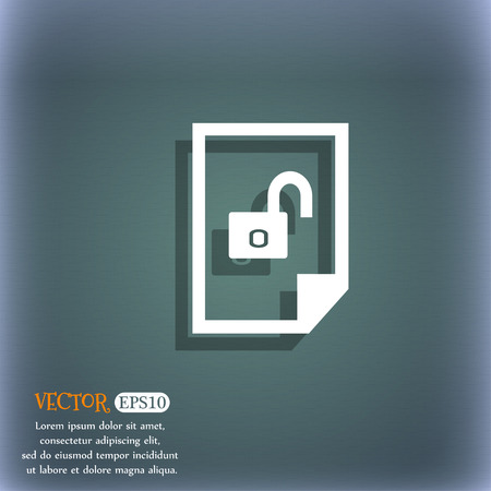 lockout: File unlocked icon sign. On the blue-green abstract background with shadow and space for your text. Vector illustration Illustration