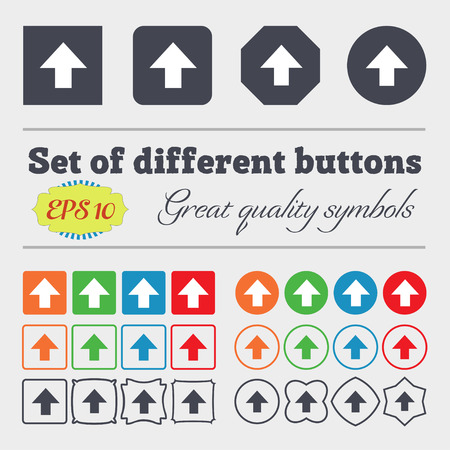 this side up: This side up sign icon. Fragile package symbol. Big set of colorful, diverse, high-quality buttons. Vector illustration