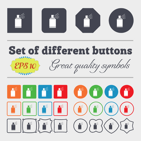 spray paint can: Graffiti spray can sign icon. Aerosol paint symbol. Big set of colorful, diverse, high-quality buttons. Vector illustration