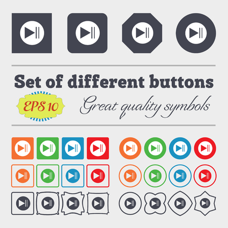inactive: play button icon. Big set of colorful, diverse, high-quality buttons. Vector illustration