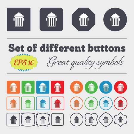 hydrant plug: fire hydrant icon sign. Big set of colorful, diverse, high-quality buttons. Vector illustration