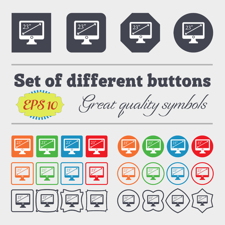 inches: diagonal of the monitor 23 inches icon sign. Big set of colorful, diverse, high-quality buttons. Vector illustration Illustration