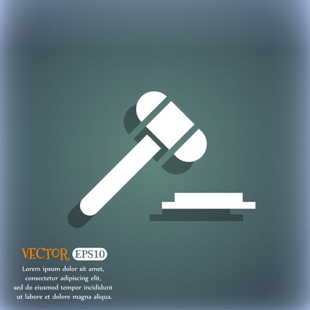 auctioning: judge hammer icon. On the blue-green abstract background with shadow and space for your text. Vector illustration