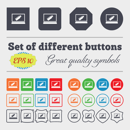 quality controller: usb flash drive and monitor sign icon. Video game symbol. Big set of colorful, diverse, high-quality buttons. Vector illustration