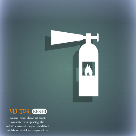 flammability: fire extinguisher icon sign. On the blue-green abstract background with shadow and space for your text. Vector illustration