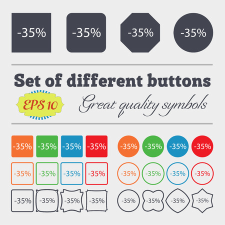 35: 35 percent discount sign icon. Sale symbol. Special offer label. Big set of colorful, diverse, high-quality buttons. Vector illustration Illustration