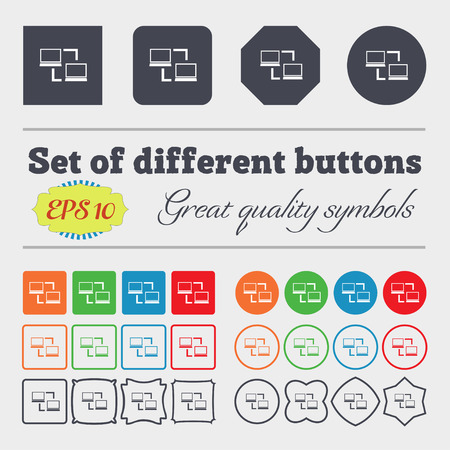 data synchronization: Synchronization sign icon. Notebooks sync symbol. Data exchange. Big set of colorful, diverse, high-quality buttons. Vector illustration
