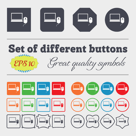 widescreen: Computer widescreen monitor, mouse sign ico. Big set of colorful, diverse, high-quality buttons. Vector illustration