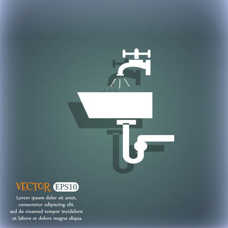 washstand: Washbasin icon sign. On the blue-green abstract background with shadow and space for your text. Vector illustration