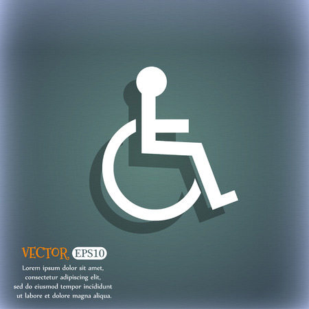 invalid: Disabled sign icon. Human on wheelchair symbol. Handicapped invalid sign. On the blue-green abstract background with shadow and space for your text. Vector illustration