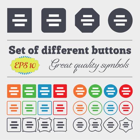alignment: Centro signo icono de alineaci�n. Gran conjunto de coloridos botones diversos, y de alta calidad. Ilustraci�n vectorial Vectores