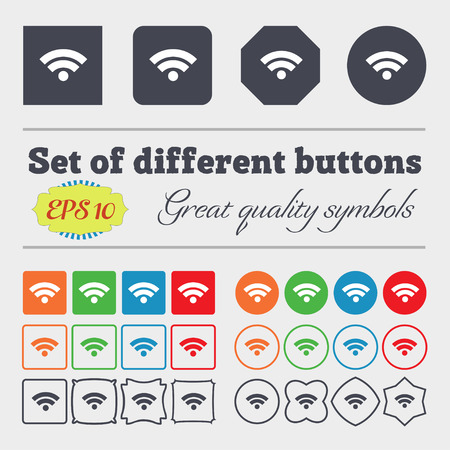 wifi sign: Wifi sign. Wi-fi symbol. Wireless Network icon. Wifi zone. Big set of colorful, diverse, high-quality buttons. Vector illustration