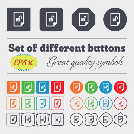 lockout: File unlocked icon sign. Big set of colorful, diverse, high-quality buttons. Vector illustration Illustration