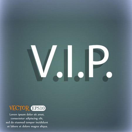 very important person: Vip sign icon. Membership symbol. Very important person. On the blue-green abstract background with shadow and space for your text. Vector illustration Illustration