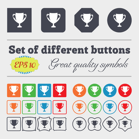 awarding: Winner cup sign icon. Awarding of winners symbol. Trophy. Big set of colorful, diverse, high-quality buttons. Vector illustration Illustration