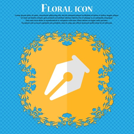 secretarial: pencil. Floral flat design on a blue abstract background with place for your text. Vector illustration
