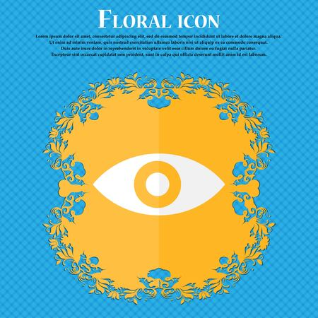 sixth sense: Eye, Publish content, sixth sense, intuition . Floral flat design on a blue abstract background with place for your text. Vector illustration