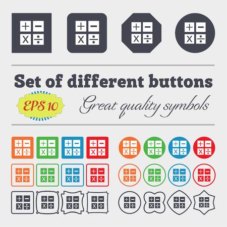 multiplicacion: Multiplicación, división, más, menos icono Matemáticas símbolo Matemáticas. Gran conjunto de coloridos botones diversos, y de alta calidad. Ilustración vectorial