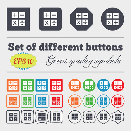 multiplication: Multiplication, division, plus, minus icon Math symbol Mathematics. Big set of colorful, diverse, high-quality buttons. Vector illustration