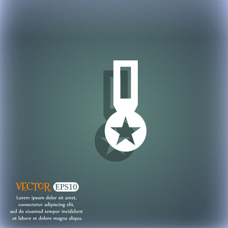 honor: Award, Medal of Honor icon sign. On the blue-green abstract background with shadow and space for your text. Vector illustration